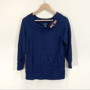 Ralph Lauren Navy Blue Cable Knit Boat Neck Buckle Sweater XL